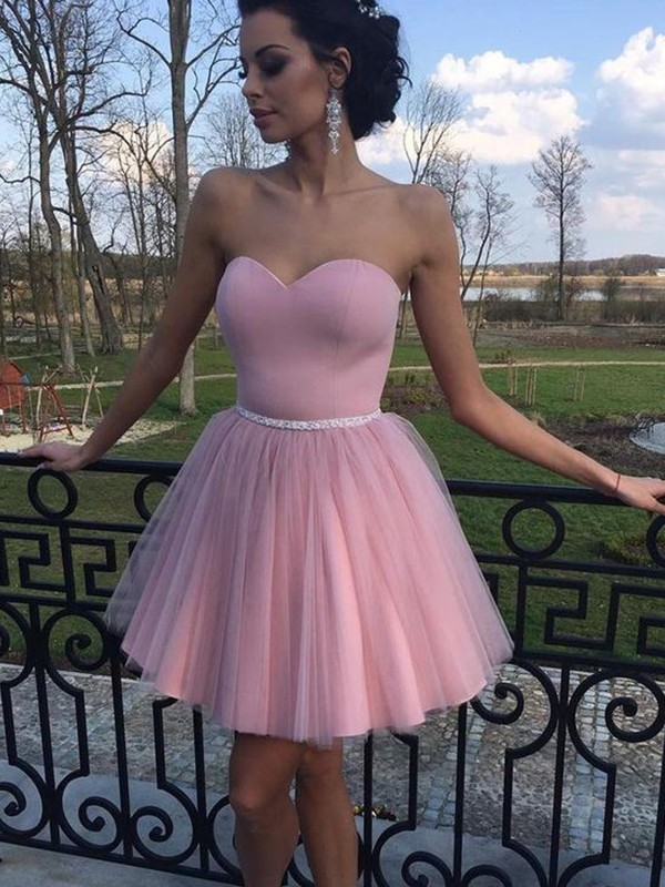Stunning A-Line Sweetheart Sleeveless Tulle Short/Mini Dress