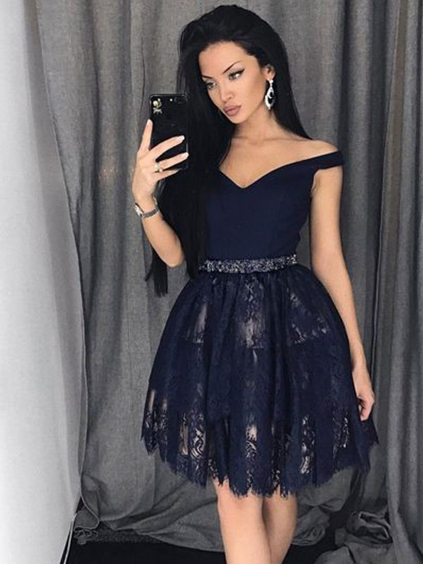 Exquisite A-Line Sleeveless Satin Lace Off-the-Shoulder Short/Mini Dress