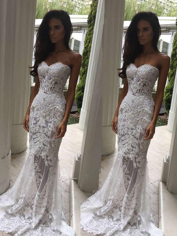 Exquisite Mermaid Sweetheart Court Train Sleeveless Lace Wedding Dress