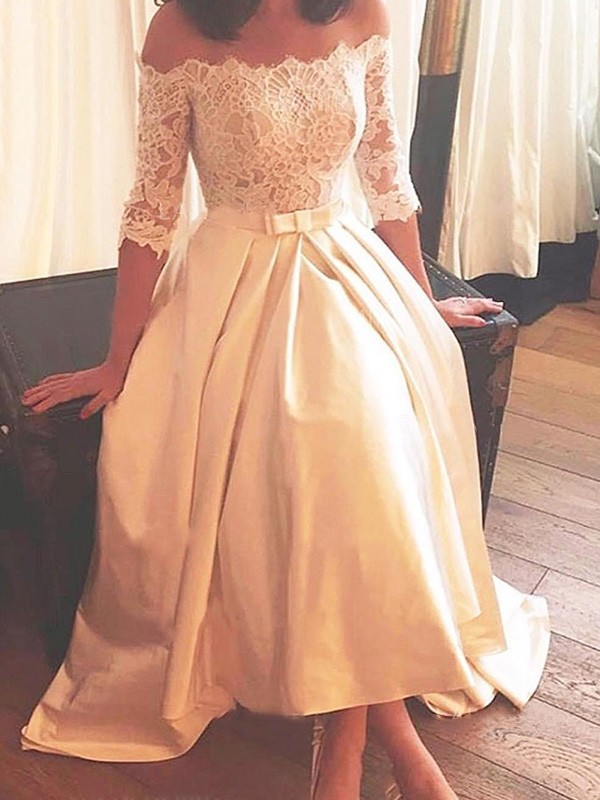 Discount A-Line Off-the-Shoulder Asymmetrical Sweep/Brush Train 1/2 Sleeves Lace Satin Wedding Dress