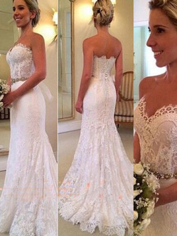 Discount Mermaid Sleeveless Sweetheart Sweep/Brush Train Lace Wedding Dress