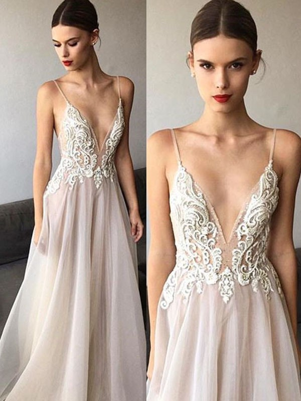 Stylish A-Line Sleeveless V-neck Sweep/Brush Train Spaghetti Straps Lace Tulle Wedding Dress