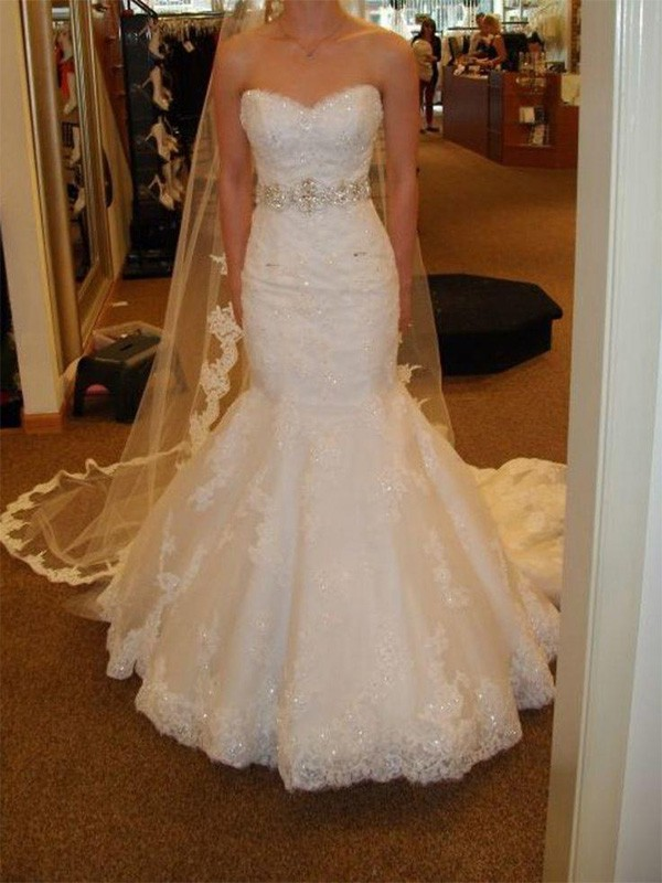 Perfect Mermaid Sleeveless Sweetheart Court Train Lace Tulle Wedding Dress