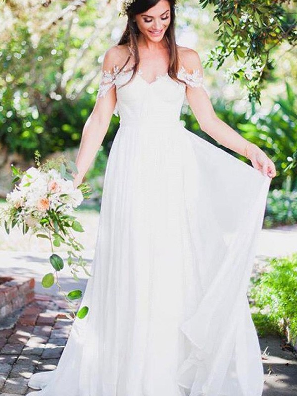 Amazing A-Line Sleeveless Off-the-Shoulder Sweep/Brush Train Lace Chiffon Wedding Dress