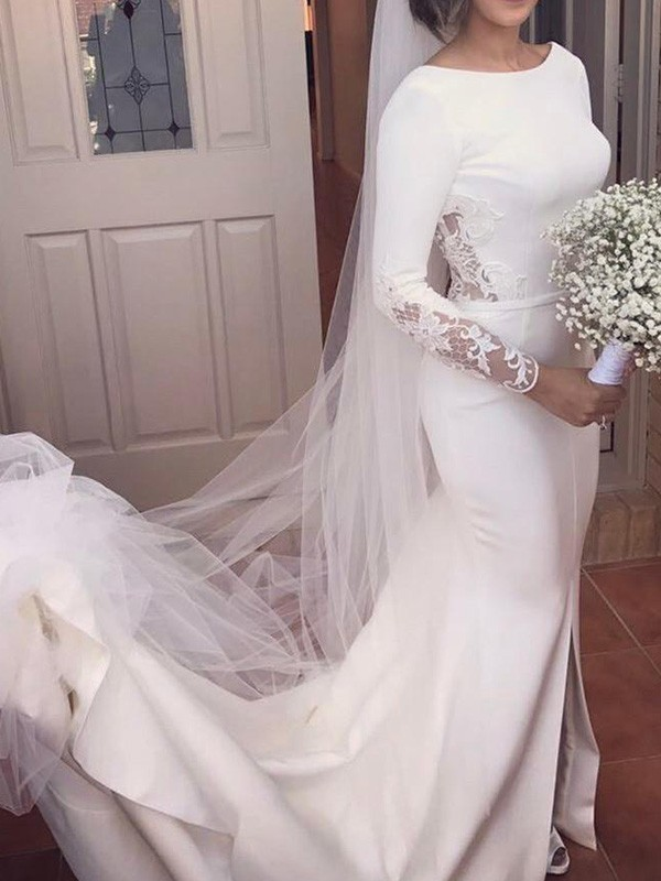 Gorgeous Mermaid Long Sleeves Scoop Court Train Lace Satin Wedding Dress