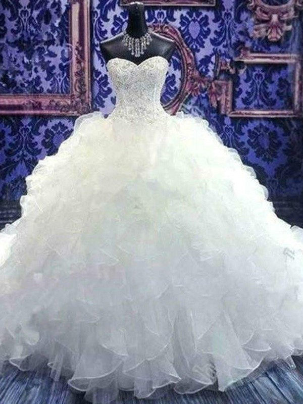 Beautiful Ball Gown Sleeveless Sweetheart Chapel Train Sequin Organza Wedding Dress