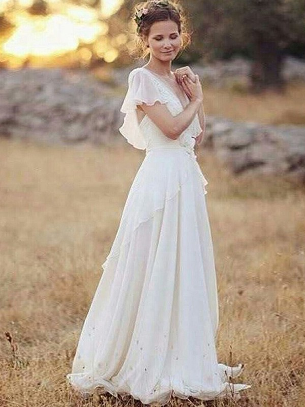 Discount A-Line Chiffon V-neck Short Sleeves Floor-Length Wedding Dress