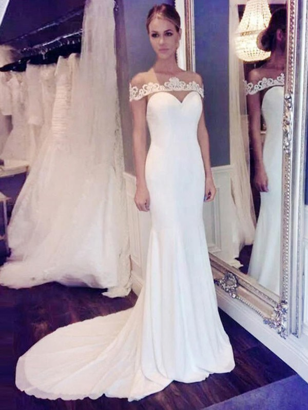 Glamorous Mermaid Chiffon Scoop Lace Sleeveless Court Train Wedding Dress