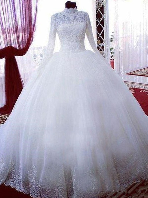 Amazing Ball Gown Lace Tulle High Neck Long Sleeves Chapel Train Wedding Dress