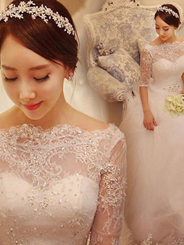 Glamorous Ball Gown Tulle 1/2 Sleeves Off-the-Shoulder Chapel Train Wedding Dress