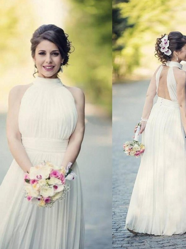 Stylish A-Line Halter Sleeveless Tulle Floor-Length Wedding Dress