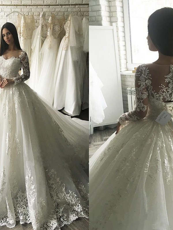Beautiful Ball Gown Tulle Scoop Long Sleeves Court Train Wedding Dress