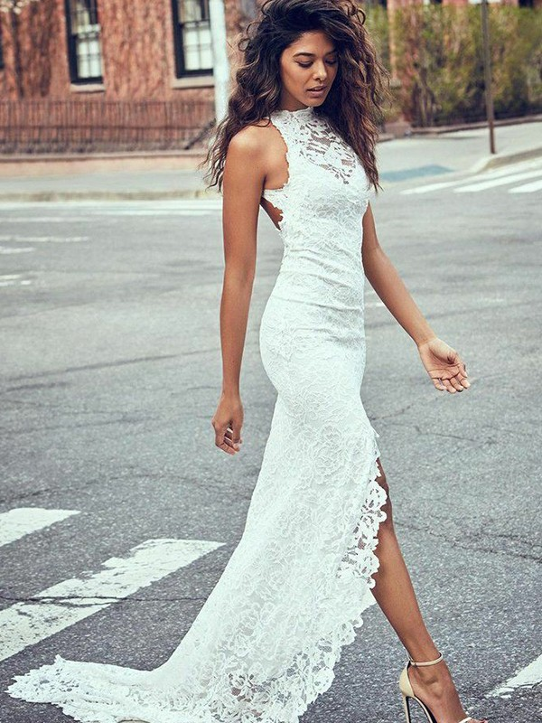 Exquisite Mermaid Lace Halter Sleeveless Sweep/Brush Train Wedding Dress