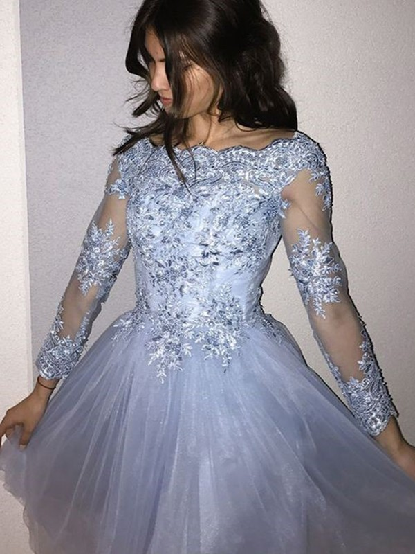 Affordable A-Line Off-the-Shoulder Tulle Short Dress