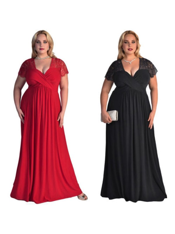 Stylish A-Line Short Sleeves V-neck Floor-Length Lace Chiffon Plus Size Dress