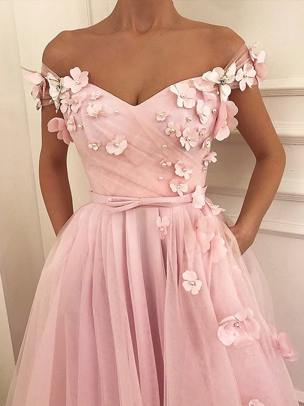 Affordable A-Line Sleeveless Off-the-Shoulder Floor-Length Tulle Dress