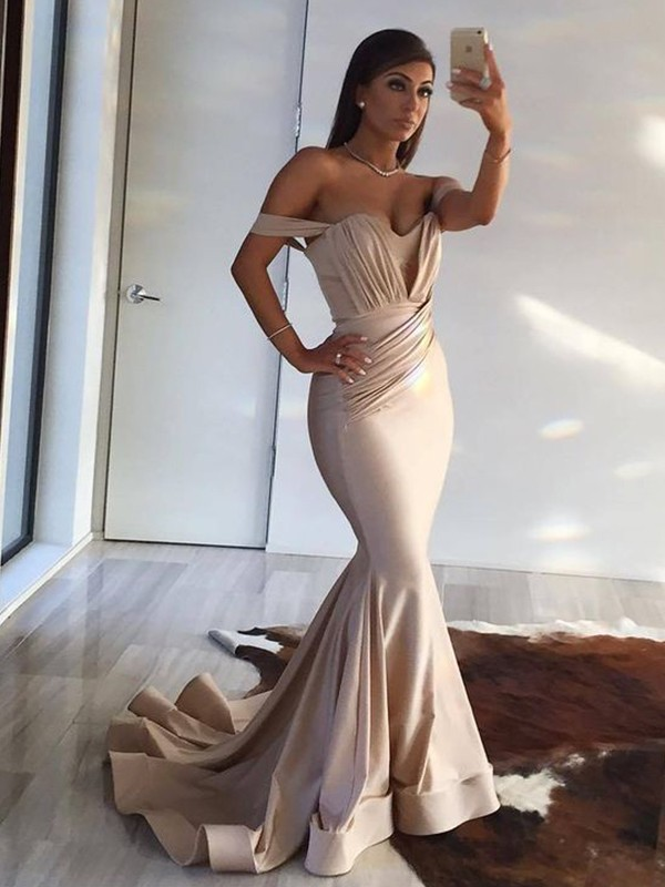 Gorgeous Mermaid Sleeveless Off-the-Shoulder Sweep/Brush Train Spandex Dress