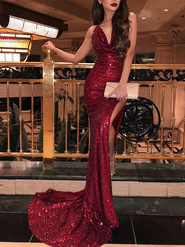 Nice Mermaid Sleeveless V-neck Sweep/Brush Train Sequins Dress