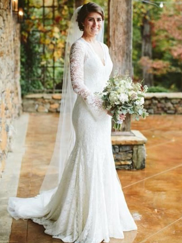 Cheap Mermaid V-neck Long Sleeves Sweep/Brush Train Lace Wedding Dress