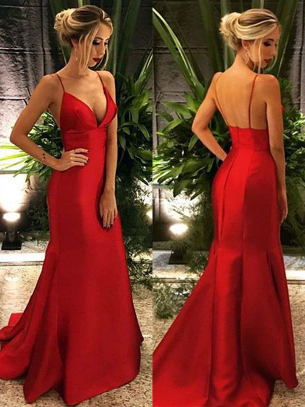 Perfect Mermaid Spaghetti Straps Sleeveless Sweep/Brush Train Satin Dress