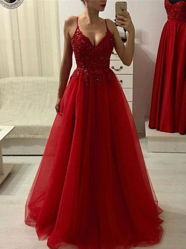 Nice A-Line Spaghetti Straps Sleeveless Floor-Length Tulle Dress