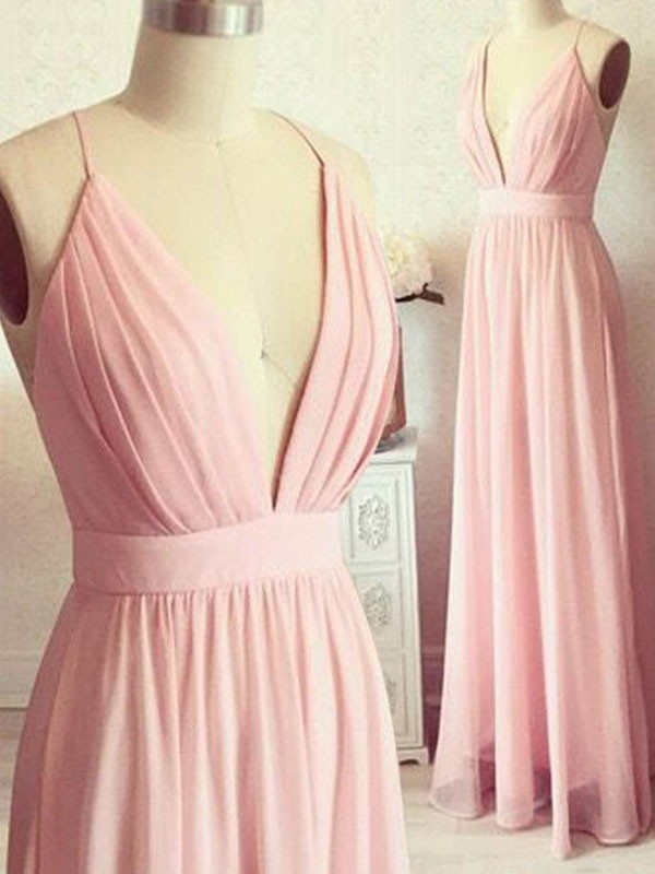 Amazing A-Line Sleeveless Spaghetti Straps Floor-Length Chiffon Dress
