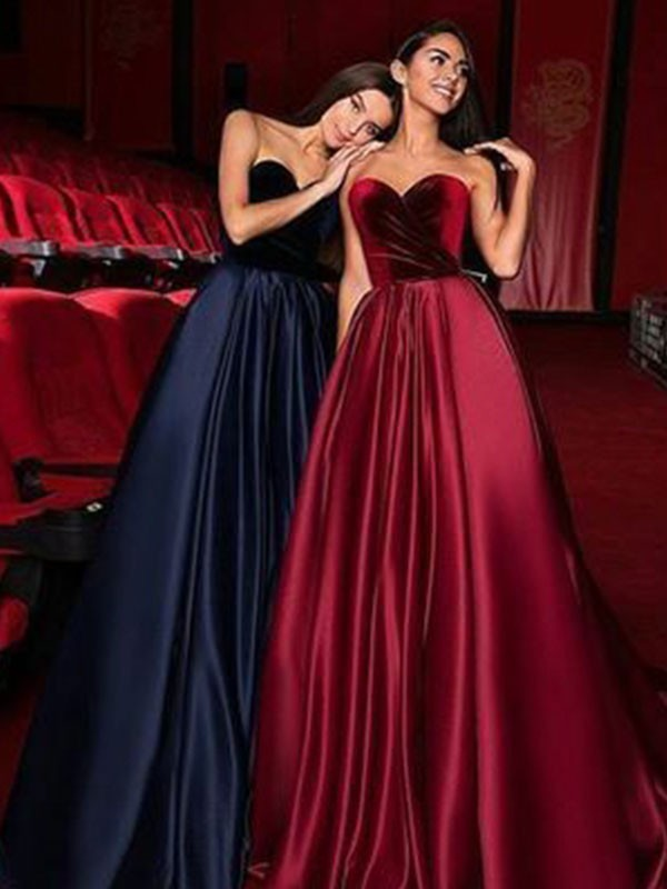 Glamorous A-Line Sleeveless Sweetheart Court Train Satin Dress