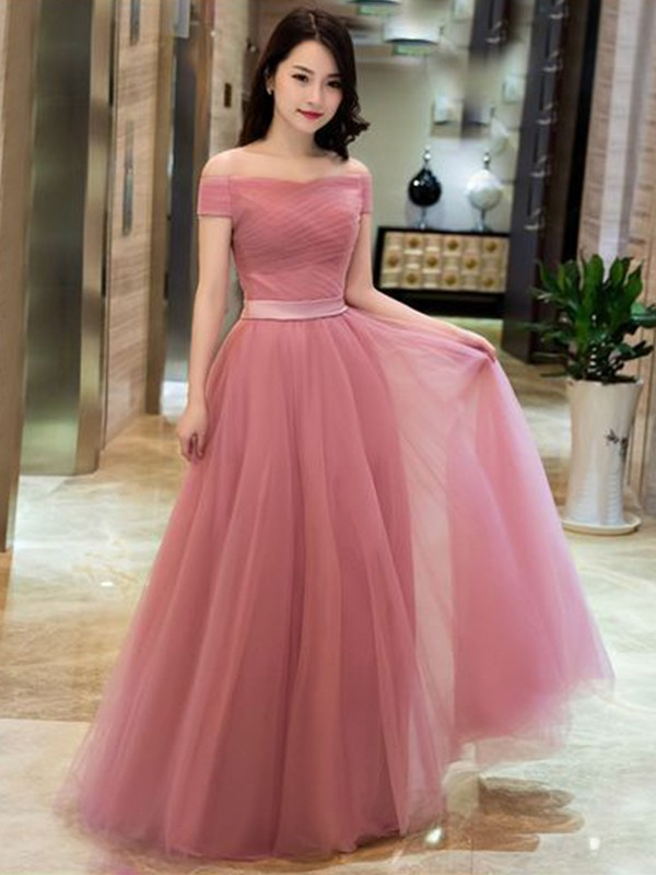 Affordable A-Line Tulle Off-the-Shoulder Sleeveless Floor-Length Dress