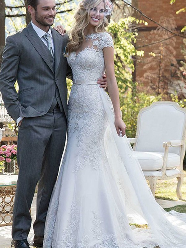 Fashion Mermaid Tulle Bateau Short Sleeves Sweep/Brush Train Wedding Dress
