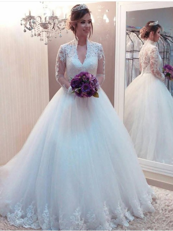 Stunning Ball Gown Tulle High Neck Long Sleeves Sweep/Brush Train Wedding Dress