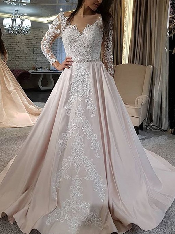 Discount A-Line Satin V-neck Long Sleeves Sweep/Brush Train Wedding Dress