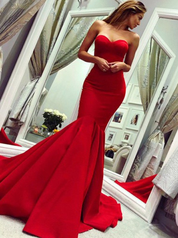 New Arrival Mermaid Strapless Court Train Satin Dress