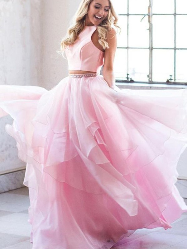New Arrival A-Line Scoop Tulle Floor-Length Two Piece Dress