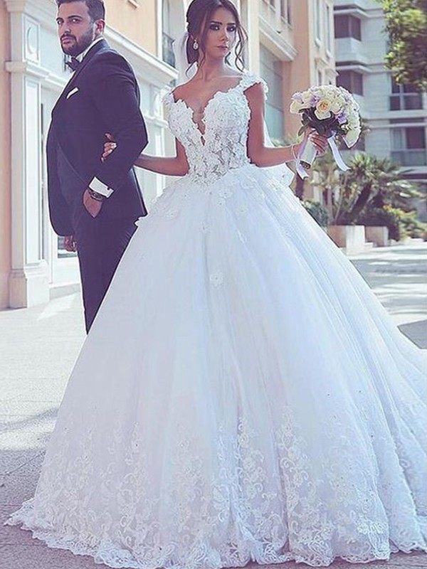 Nice Ball Gown Sweetheart Sleeveless Sweep/Brush Train Lace Tulle Wedding Dress