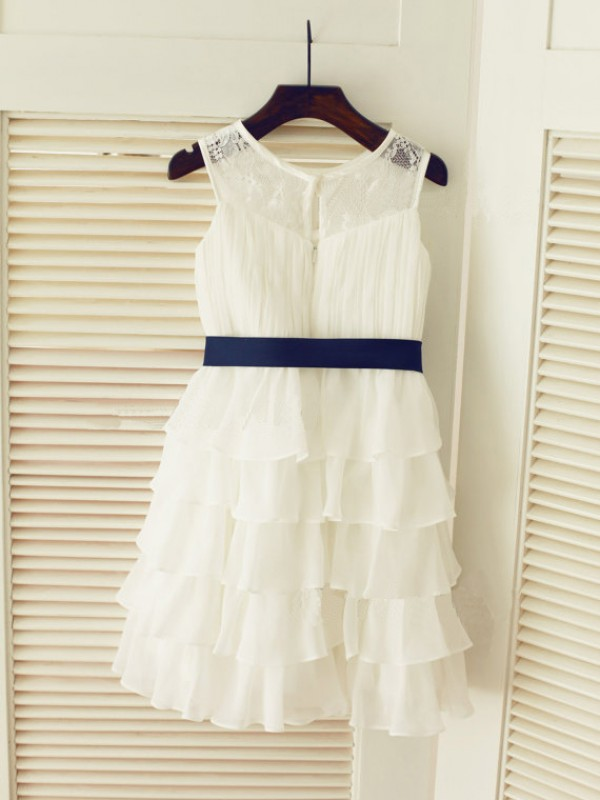 Amazing A-line Scoop Tea-length Chiffon Flower Girl Dress