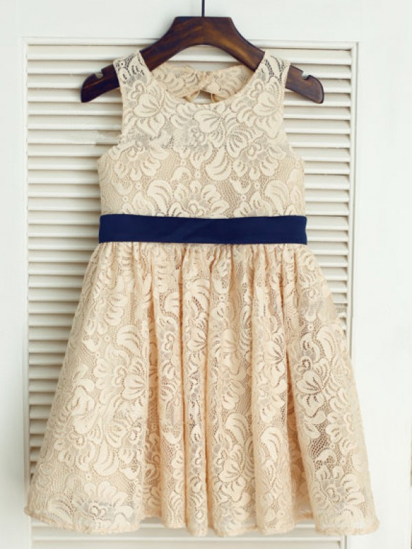Beautiful A-line Scoop Tea-length Lace Flower Girl Dress