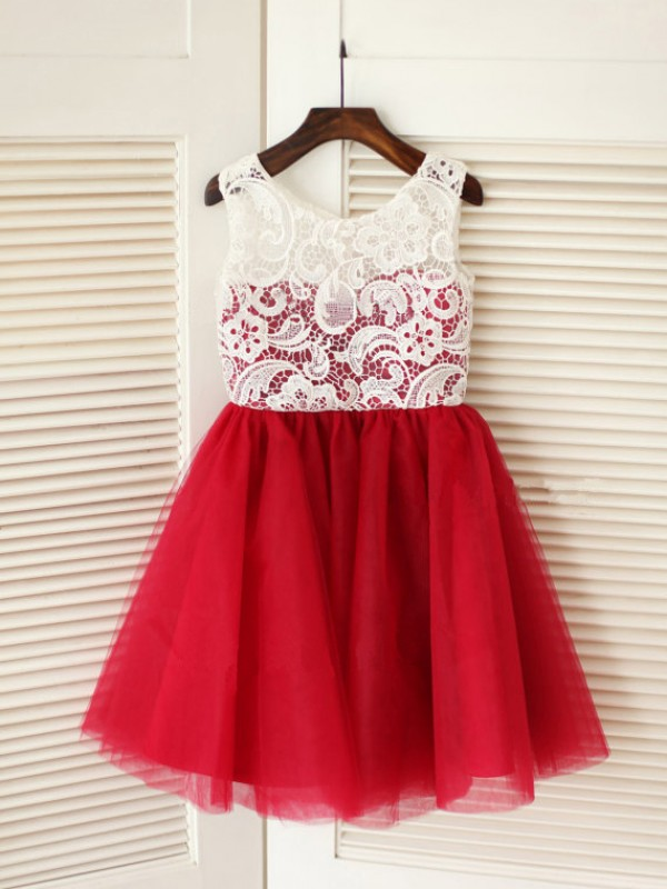 Discount A-line Scoop Knee-Length Tulle Flower Girl Dress