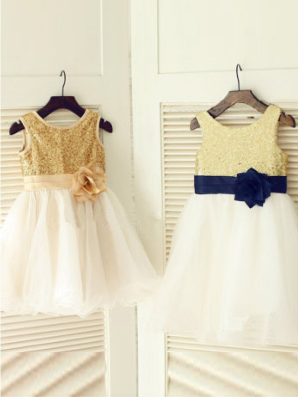 Chic A-line Scoop Tea-length Tulle Flower Girl Dress