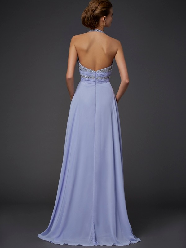 Beautiful A-Line Halter Sleeveless Chiffon Long Dress