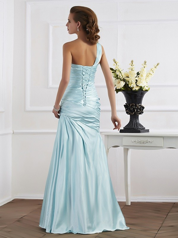 Beautiful Mermaid One-Shoulder Sleeveless Long Elastic Woven Satin Dress