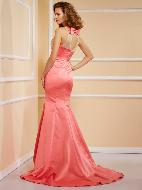 Beautiful Sheath Jewel Sleeveless Long Satin Dress