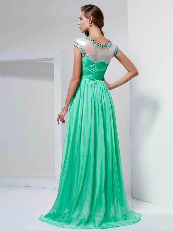 Beautiful A-Line High Neck Short Sleeves Long Chiffon Dress