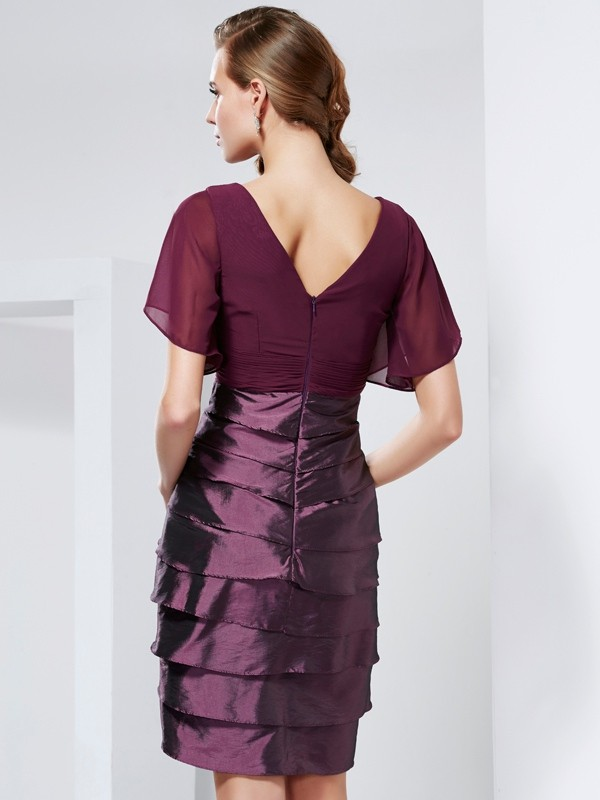 Elegant A-Line V-neck Short Sleeves Short Taffeta Mother of the Bride Dress