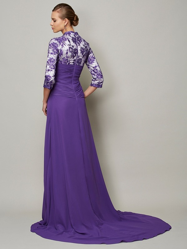 Elegant A-Line V-neck 1/2 Sleeves Long Chiffon Dress