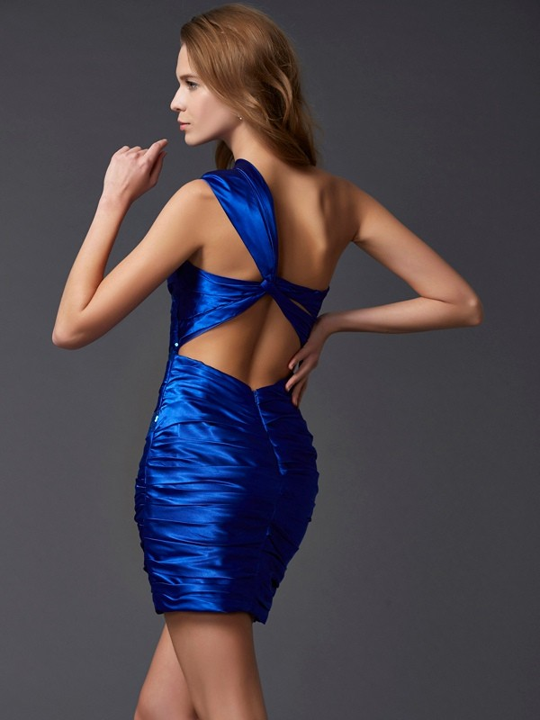 Elegant Sheath One-Shoulder Sleeveless Short Silk like Satin Homecoming Dress