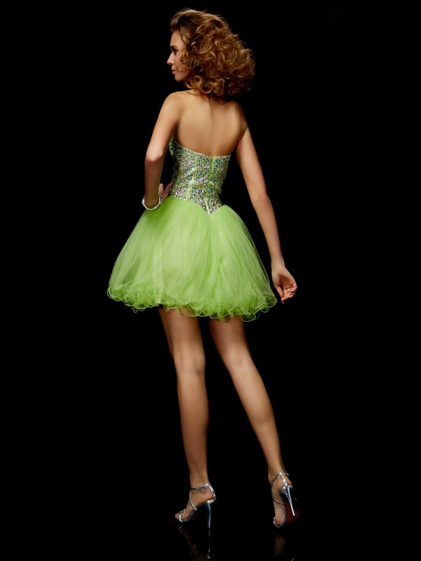 Elegant A-Line Sweetheart Sleeveless Sequin Short Elastic Woven Satin Homecoming Dress