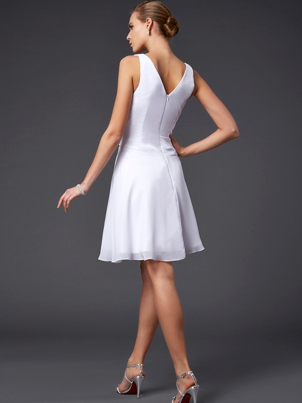 Elegant A-Line V-neck Sleeveless Short Chiffon Bridesmaid Dress