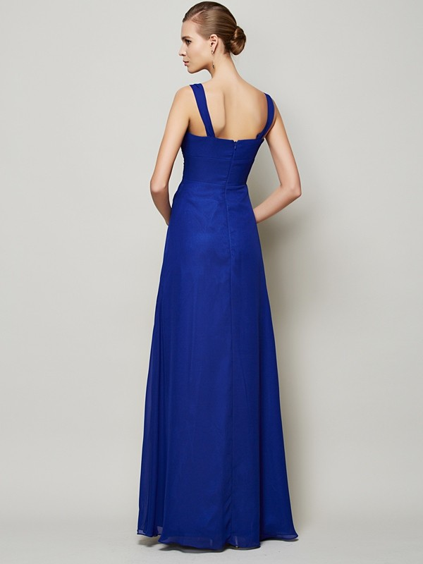 Chic Sheath Straps Sleeveless Long Chiffon Bridesmaid Dress