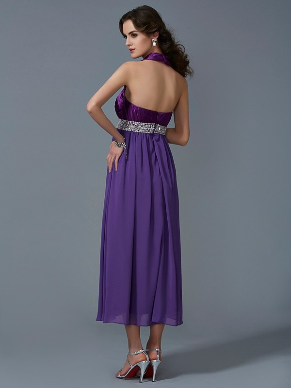 Chic A-Line Halter Sleeveless Long Chiffon Bridesmaid Dress