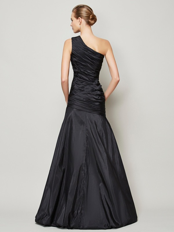 Chic A-Line One-Shoulder Sleeveless Long Taffeta Bridesmaid Dress